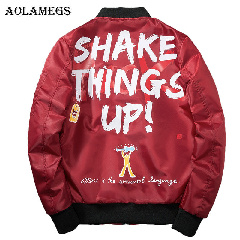 Aolamegs Bomber Jacket Men Graffiti Print Thin MA-1 Men's Jacket Hip Hop Fashion Outwear Autumn Men Coat Bomb Baseball Jackets