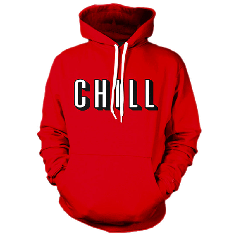 3D Men's Hoodies CHILL 3D Print Red Hooded Sweatshirts Front Pocket Longsleeve Crewneck Pullover
