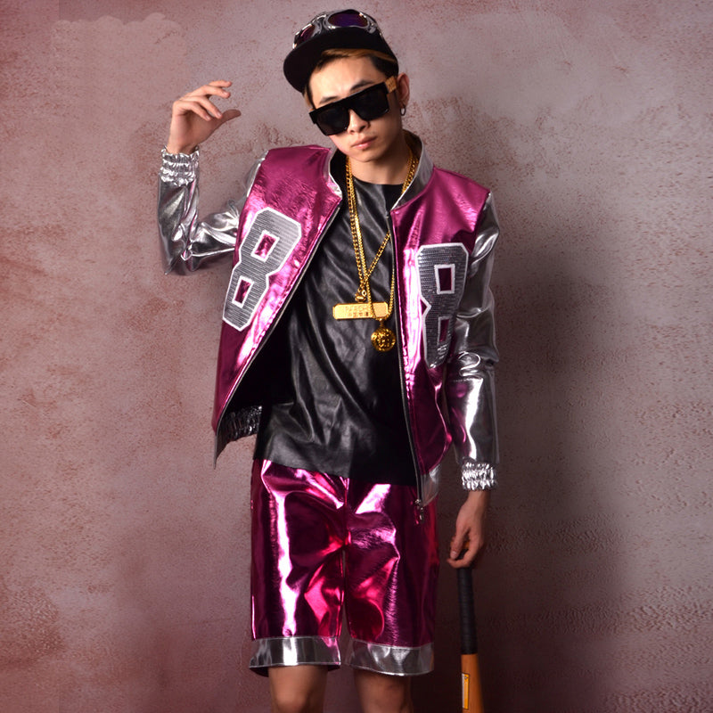 Piece Dazzling  Patchwork Shining Patent Leather Jacket + Short Pants