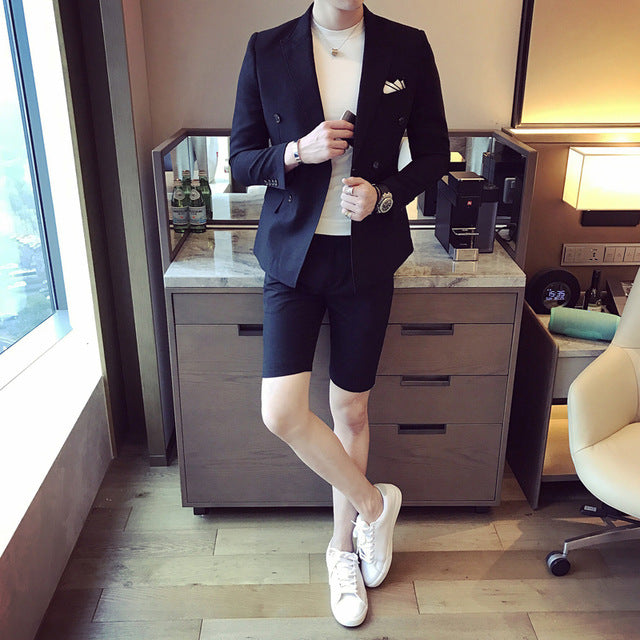 Stylish Double Breasted Slim Fit Male Blazer w/ Shorts