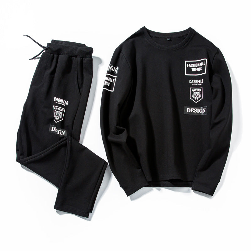 Spring summer Casual street wear Tracksuit men sets  two pieces Jogger's favorite  breathable long pants T-shirt