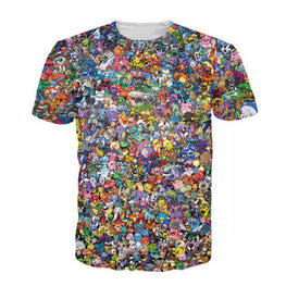 Women Men 3d Tops Original 150 Pokemon 8-Bit Collage T-Shirt 90s Video Game And Anime 3d Print T Shirt Characters Cartoon Tee