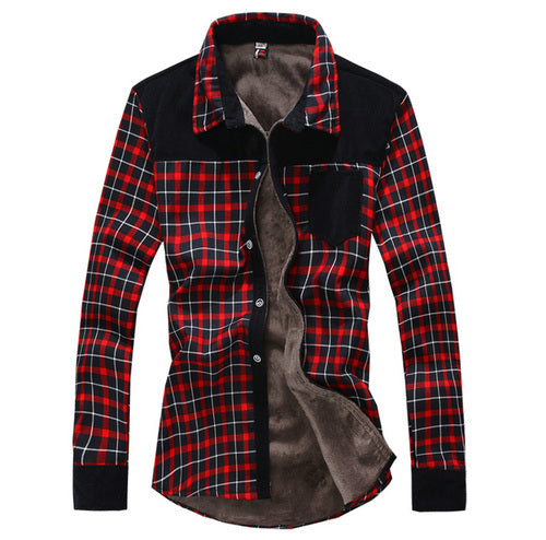 Hot sale free shipping casual plaid mens shirts fleece warm long sleeve shirt for men dress shirts C852