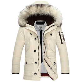 Thick warm men is down jacket high quality fur collar hooded down jacket winter coat Male