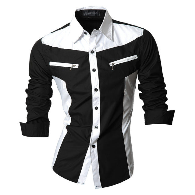 Men Casual Long Sleeve Slim Fit Shirt