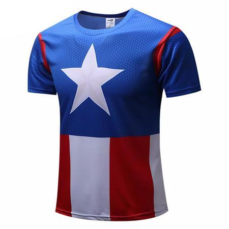 Captain America 2 Super Hero lycra tights T shirt Men fitness clothing short sleeves S-4XL