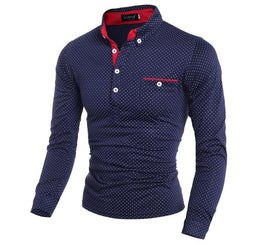 Mens Polo Shirt Male Long Sleeve Fashion Casual Slim Polka Dot Pocket Button