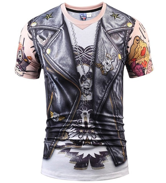 Mr.1991inc Hot New Style Casual Men 3D T Shirt Short Sleeve tattoo black suit Digital Printing Summer Tops size S-XXXL 5988