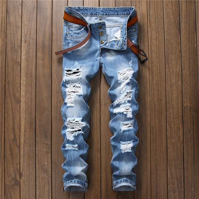Designer Men's Ripped Jeans Pants Slim Fit Light Blue Denim Joggers Male Distressed Destroyed Trousers Button Fly Pants