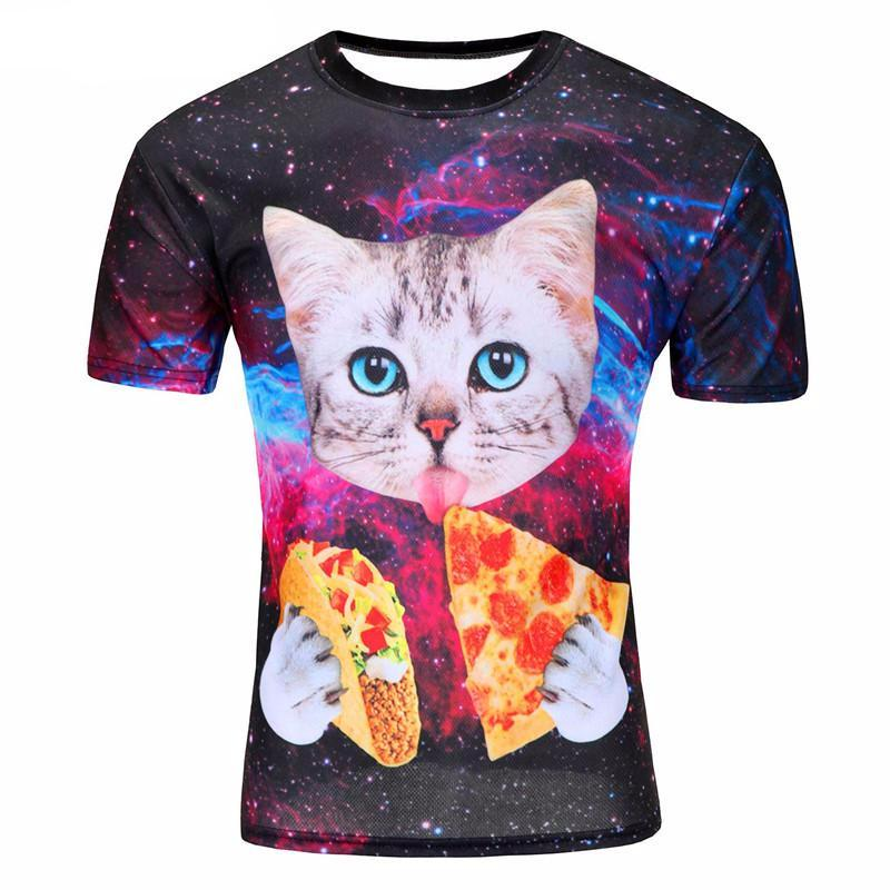 galaxy space 3D t shirt lovely kitten cat eat pizza