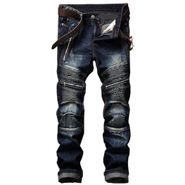 Newsosoo Men's Pleated Biker Jeans Pants Slim Fit Brand Designer Motocycle Denim Trousers For Male Straight Washed Multi Zipper