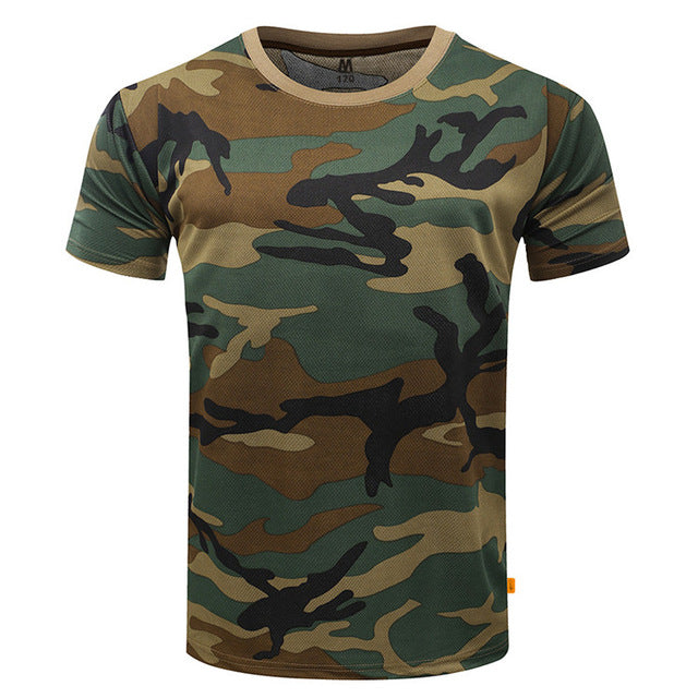 Camouflage T-Shirt Quick Dry Breathable Army Tactical Mens Compression t-shirt