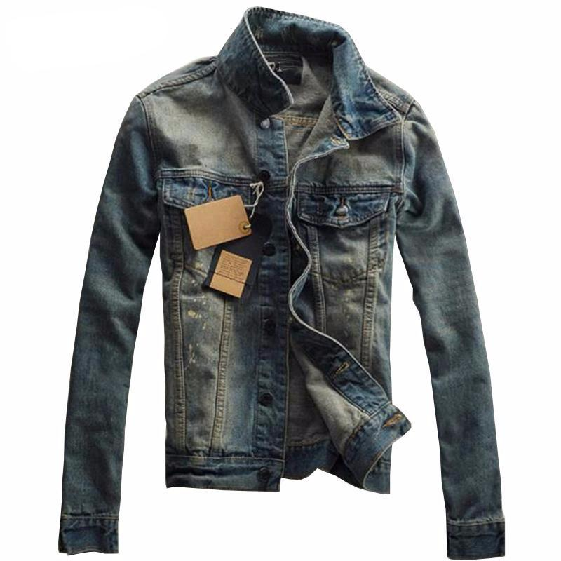 Men Denim Jacket Slim Fit Fashion Turn-down Collar Male Cowboy Jackets
