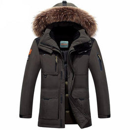 high-quality thick warm coat men's leisure down jacket fur hooded coat minus 40 degrees cold