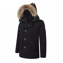 Mens Goose Down Jacket Warm Big Removable fur