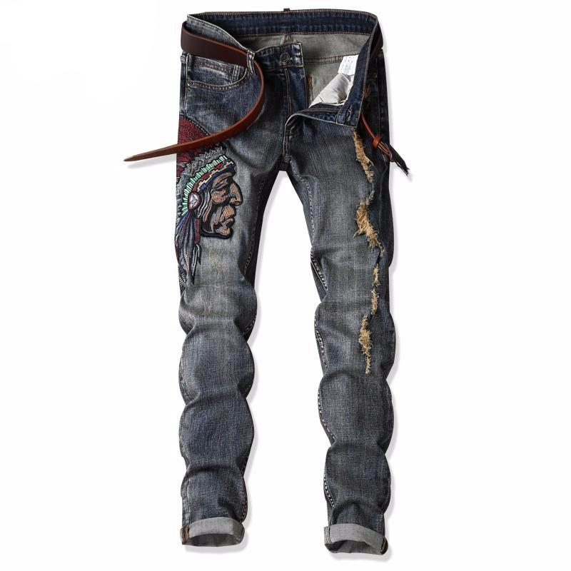 YiRuiSen Brand Patchwork And Embroidery Indian Men's Slim Jeans Casual Long Pants Denim Jeans For Man Clothing 29-38 Size #1701