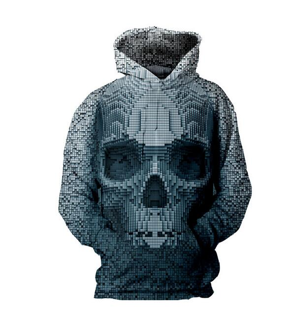 Cloudstyle streetwear hoodies autumn\winter sudaderas 3d skull fashion men hooded sweatshirts comfortable hoody Harajuku style