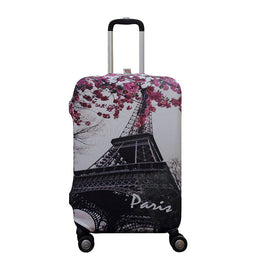 Paris Pattern Elastic Travel Luggage Suitcase Protective Cover for S/M/L, Apply to 18-30inch Cases, Travel Accessories