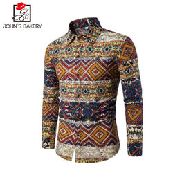 Fashion Shirt Male Flax Dress Shirts Slim Fit Turn-Down Men Long Sleeve Hawaiian Shirt