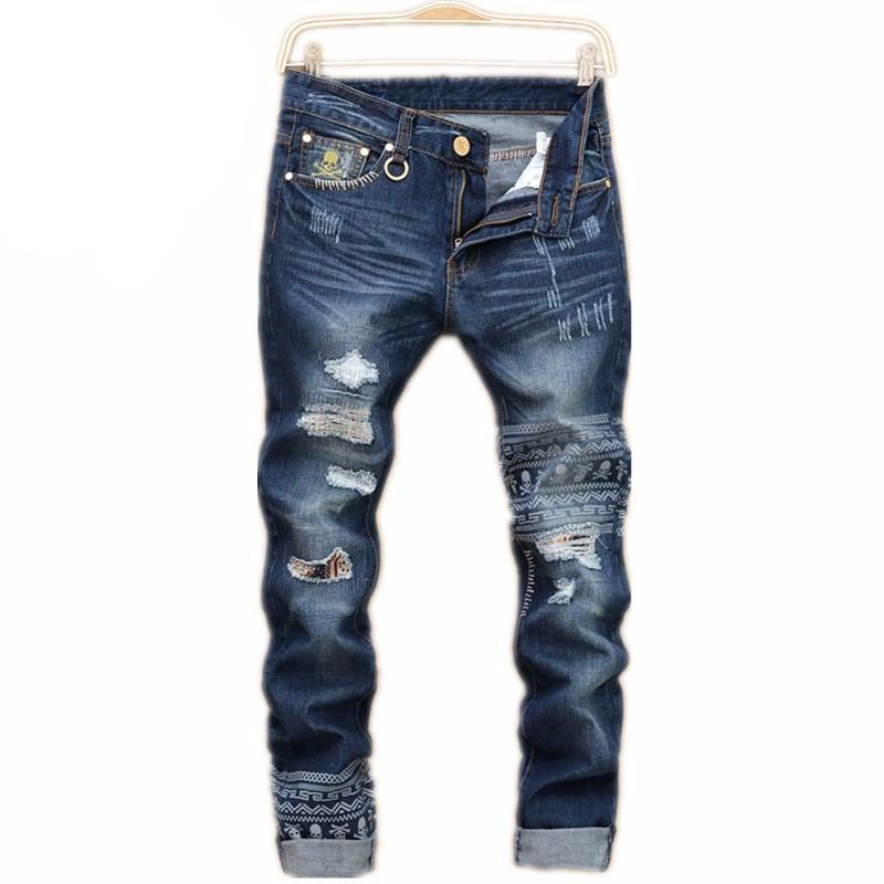 Mens Ripped jeans male new Runway slim jeans denim Biker Slim  jeans hiphop pants Washed Printed Skull blue jeans for men