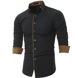 Business Men's Slim Fit Dress shirt Male Long sleeves Casual Shirt
