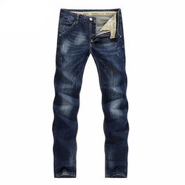 KSTUN Men's Jeans Autumn Winter Stretch Dark Blue Business Casual Denim Pants Slim Scratched Long Trousers Gentleman Cowboys 38