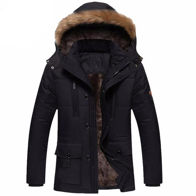 New Men Fashion Style Outerwear Thick Warm Inside Winter Jacket Fur Collar Detachable Men Parkas