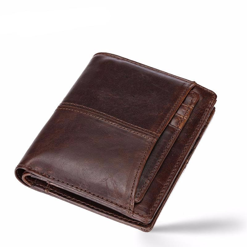 MAILAER Men's wallet short leather wallet folding wallet short section men's leather cowhide wallet vertical money bag