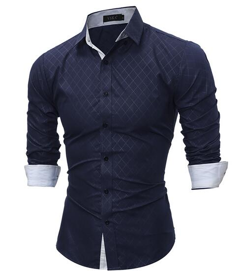 Fashion Plaid Men Slim Fit Shirt Long Sleeve