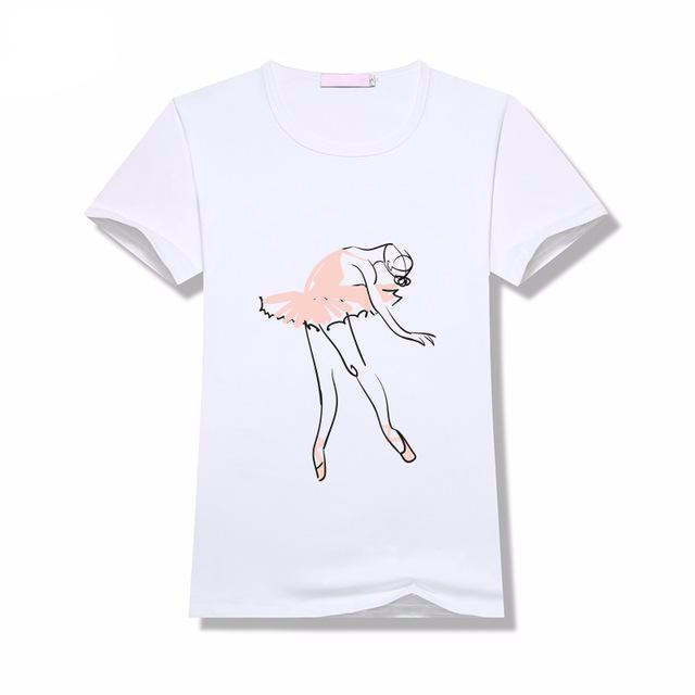 WINTRESS Vintage T-Shirt Women Clothes Grace Ballet Dancer Print Short Sleeve Round Neck Tee Top High Quality