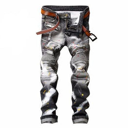 NEW Classic pants Men Biker Moto Jeans Slim hip hop Splashed Ink Denim Blue red Hip Hop Streetwear Rap Jeans ,NO belt