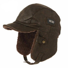 Winter Men Bomber Hats Aviator Cap Earflap for Women SIGGI Russian Windproof Pilot faux Leather Trapper Hunting Unisex 88115