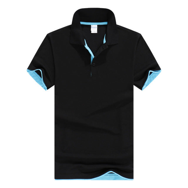 Polos men Cool Quick-Dry Sweat-Wicking Color Block Short Sleeve turndown collar Shirt
