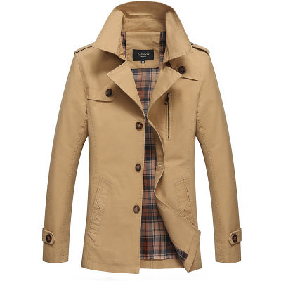 Men's casual Single-breasted Slim long pea Trench Coat