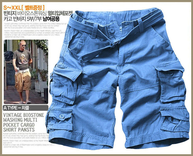 Multi-pocket Camouflage Mens Casual Loose Knee-length Mens Cargo Shorts