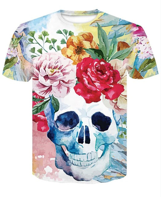 2018 New skull 3D Printing T-shirt Men Fitness Compression Shirts Tops Male T-shirt Summer Cool High Street Wear