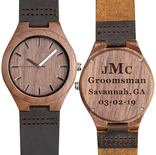 8dddbf015e Custom Engraved Wooden Watches for Men Personalized Groomsmen Anniversary  Gifts Double-Sided Engraved -