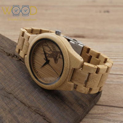 Bamboo Wood Watches With Deer Head Engraved Dial - Passion Hobby Gadgets