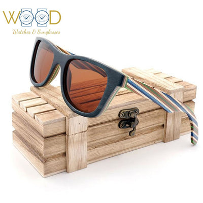 Polarized Sunglasses Layered Skateboard Wooden Frame Square Style Glasses - Passion Hobby Gadgets