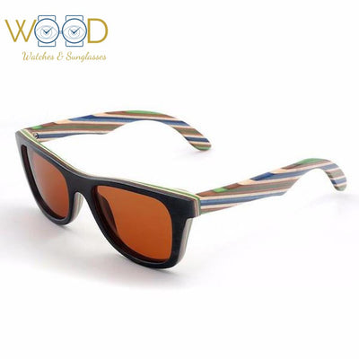 d123c4d1fe Polarized Sunglasses Layered Skateboard Wooden Frame Square Style Glasses -  Passion Hobby Gadgets