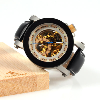 BOBO BIRD WK11 Mens Watches Golden Bronze Skeleton Male Antique Steampunk Casual - Passion Hobby Gadgets