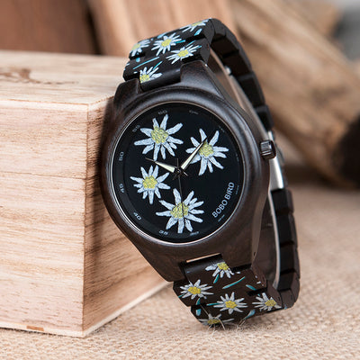 BOBO BIRD WP06 Fashion Colorful Print Wood Watch Design Quartz - Passion Hobby Gadgets