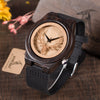 BOBO BIRD Leather Strap Black Wooden Quartz Watches Hollow Design Clock Luxury Watch - Passion Hobby Gadgets