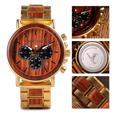 BOBO BIRD Wooden Men Watch Relogio Masculino Top Brand Luxury Chronograph Date Display - Passion Hobby Gadgets