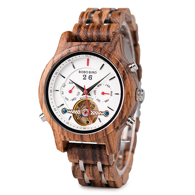 BOBO BIRD Wood Watches Men Mechanical Watch Automatic Wristwatch in Gift Wooden Box - Passion Hobby Gadgets