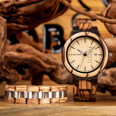 BOBO BIRD Wood Men Watch Bracelet - Passion Hobby Gadgets