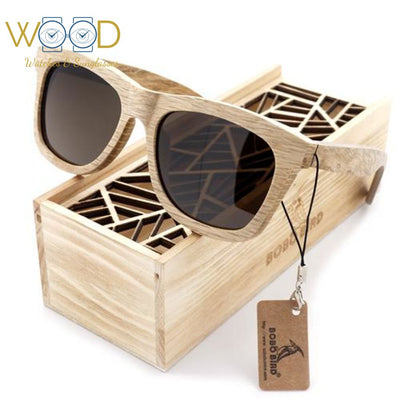 Wood Sunglasses Brown wooden Sunglasses Style Square Brown Polarized Lens - Passion Hobby Gadgets