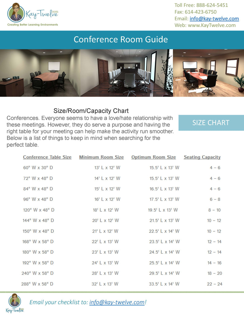 Conference Tables And Size Chart Conference Room Seating Kay - Conference table size for 12