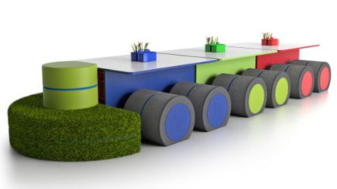 NorvaNivel | STEAMSPACE T-TABLE COLLECTION (WITH CABOOSE) | Flexible Classroom Furniture | STEM Furniture