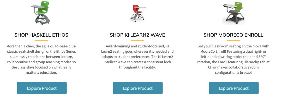 All-In-One Seating Options; SHOP HASKELL ETHOS; SHOP KI LEARN2 WAVE; SHOP MOORECO ENROLL
